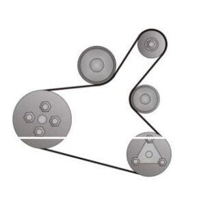 Ruteo de la banda de accesorios (con aire acondicionado)