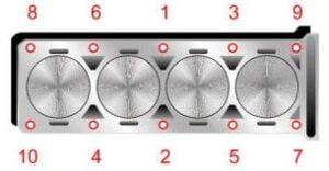 Torque de la cabeza del motor Hyundai G4HD 1.1L
